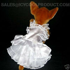 WHITE SATIN DERESS pet dog clothes APPAREL Chihuahua L