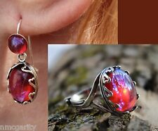 Hearts Dragons Breath Mexican Fire Opal ring/Dragons Breath Earring Sterling Slv