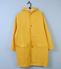 Vintage Rain Mac In Yellow Waterproof Hooded Overcoat Fisherman Small