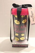 "Juicy Couture Limited Edition Gold Lips ""You Are Adored"" Travel Mug Cup Pink Lid"