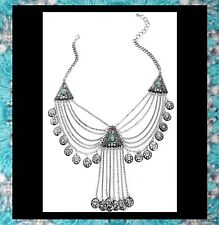NEW - BOHEMIAN STYLE SILVER FLYAWAY CRYSTAL STATEMENT COLLAR NECKLACE