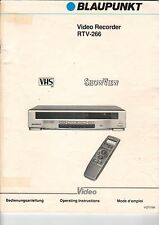 BLAUPUNKT Video Recorder RTV-266 - Bedienungsanleitung Manual - B1961