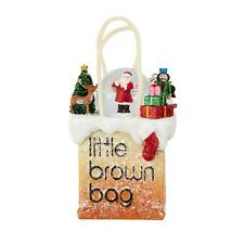 NIB Licensed Bloomingdales Little Brown Bag Santa Snow Globe Ornament Too Cute!