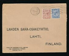 GB KG5 1931 to FINLAND 2 1/2d + 1 1/2d FOY MORGAN PERFINS + ENVELOPE