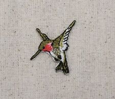 Iron On Embroidered Applique Patch Ruby Red Throat Hummingbird Small MINI Left