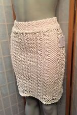 Free People Daisy Crochet Lace Pin Up Pencil Skirt Ivory Rose Size 2