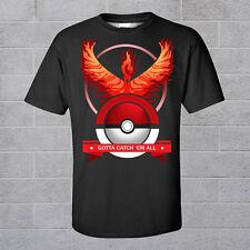 Pokemon Go Team Valor Mystic Instinct Shirt Pokeball Nerd Black T-shirt Tee Tops