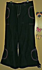 MACGIRL SIZE 11 RAVER PANTS BLACK PINK WOMEN GOTH PUNK FLARE BOTTOMS WICKED