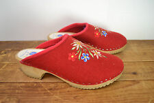 Gretel's Clogs Vintage Embroidered Red Wool Swedish Clogs, Women's 41 / 10