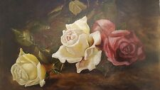 OhMy~ Antique 1900s DeepPink White Buttercream Trio of Roses Oil Painting Canvas