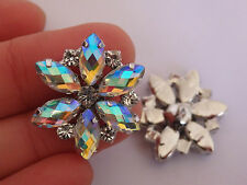 2 crystal buttons rhinestone diamante wedding upholstery silver UK -8