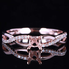 4.5MM ROUND SOLID 10K ROSE GOLD ENGAGEMENT WEDDING DIAMOND SEMI MOUNT RING