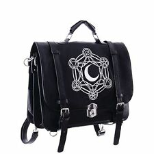 Restyle Moon & Alchemical Symbols Occult Gothic Faux Leather Satchel Hand Bag