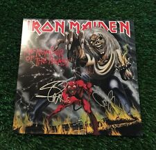 IRON MAIDEN HARRIS / SMITH NUMBER OF THE BEAST SIGNED ALBUM COVER JSA/COA P19955