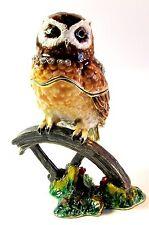 Owl on Wheel Jewelled Trinket Box or Figurine