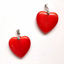 4 Cat's Eye Glass 25mm Flat Heart Pendants - Red - CT45