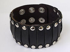 BLACK LEATHER WRISTBAND MENS BOYS STUD BRACELET  LB0182