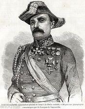 MANFREDO FANTI: Comandante Esercito Lega dell'Italia Centrale. Risorgimento.1859