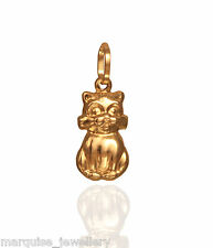 375 9ct Gold Sitting Cat Charm Pendant.