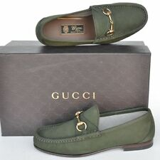 GUCCI New sz UK 8.5 - US 9.5 Designer Horsebit Mens Suede Loafers Shoes green