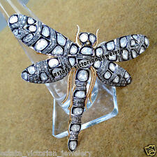 Vintage 4.77ct Rose Antique Cut Diamond Jewelry .925 Silver Butterfly Brooch Pin