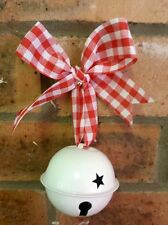 Large Jingle Bell Christmas Decoration - White Vintage Style - Gingham Ribbon