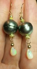Tahitian grey black Pearl Ethiopian fire Opal pear dangle earrings 14k gold