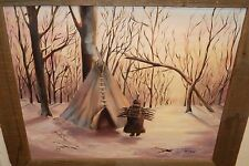 ANGLE INDIAN TEEPEE SNOW LANDSCAPE LARGE OIL ON BOARD PAINTING