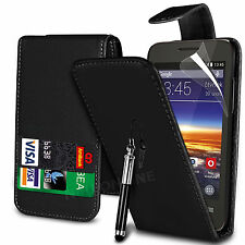 Black PU Leather Flip Case Cover, Film & Stylus Pen for Vodafone Smart 4 Mini