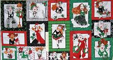 "24"" Fabric Panel - Loralie Designs Fairy Merry Christmas Blocks Cotton"