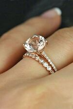 14k Rose Gold Over Round White Diamond Engagement Bridal Set Wedding Rings