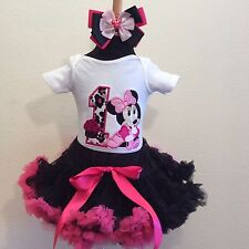 Minnie mouse black pink pettiskirt set 1st birthday personalized