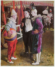 Three Circus Clowns, Dame Laura Knight vintage print 1980s ready mounted SUPERB