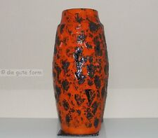 GIANT 51cm VASE FAT LAVA - 70er BODENVASE W.Germany plastische rot-orange Glasur