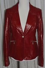 NEW RED GENUINE PATENT LEATHER RHINESTONE WOMEN'S JACKET S/M