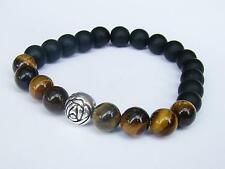 BLACK elasticated Bracelet 8mm TIGER EYE AGATE beads