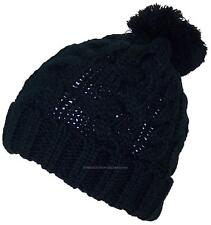 Best Winter Hats Thick Cuffed Cable & Rib Knit Beanie W/Pom Pom, Cap, #709 Black