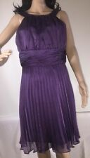 NWOT Suite 7 Party Dress Solid Purple Semi-Sheer Chiffon Pleated Sleeveless - 12