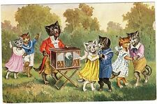POSTCARD CATS DANCE TO ORGAN GRINDER THIELE OR SIMILAR O.G.Z.-L.