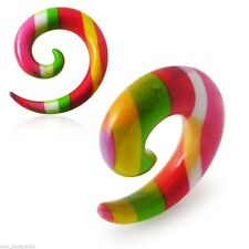 PAIR-Tapers Spiral Colorful Stripes Acrylic 08mm/0 Gauge Body Jewelry