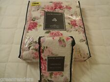 Laura Ashley Shabby Chic Cottage Pink Roses 2 pc Twin Quilt Set French Country