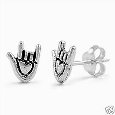 I Love You Hand Stud Earrings Sterling Silver 925 Gestures Symbols Jewelry 8 mm