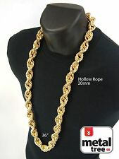 """Mens Hip Hop Iced Out 14K Gold Finish Hollow Chunky Rope Chain Necklace 20mm 36"""""""