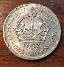 1937 Australian Silver Crown Coronation Pattern BU UNC