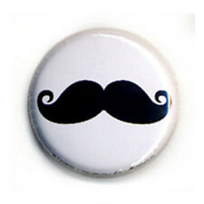 Badge MOUSTACHE 02 NOIRE mustache french français retro vintage funny pin Ø25mm