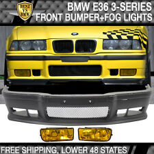 92-98 BMW E36 3-Series M3 Style Front Bumper Cover Lip Grille Yellow Fog Lights