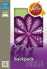 NIV Backpack Bible, Imitation Leather, Lime Green with Purple Flower
