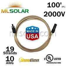 100FT SunGen Solar Panel Extension Cable 10AWG PV Wire M/F MC4 UL-Listed 2000V