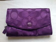 COACH SIGNATURE AMETHYST NYLON TRAVEL MAKE UP COSMETIC CASE BAG ORGANIZER F77392