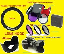 TO CAMERA NIKON COOLPIX P610 P600     RING ADAPTER 62mm+CPL FILTER KIT+LENS HOOD